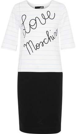 Love Moschino Paneled Printed Cotton-Blend Jersey Dress