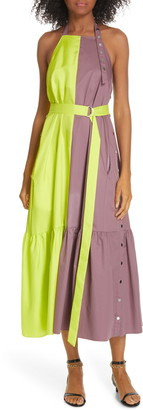 Tibi Tech Poplin Colorblock Dress