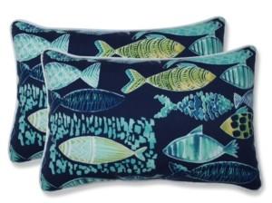 Pillow Perfect Hooked Lagoon Rectangular Throw Pillow, Set of 2
