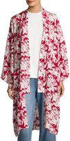 Robert Rodriguez Floral-Print Silk Robe Jacket, Crimson/White