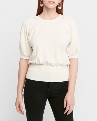 Express Short Puff Sleeve Fleece Sweatshirt
