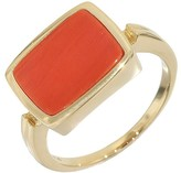 Mikimoto 14K Yellow Gold Coral Square Ring Size 4.0