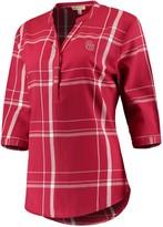 Unbranded Women's Crimson Oklahoma Sooners Missy Cotton Plaid Tunic Shirt