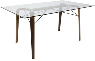 Lumisource Trilogy Mid-Century Modern Dining Table in Walnut and Clear Glass by