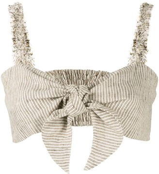 Venroy Cropped Tie-Front Top