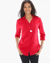 Chico's Silky Soft Relaxed Shirt in Chinese Red