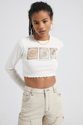 Urban Outfitters Nurture Our Nature Lettuce Edge Top - white XS at