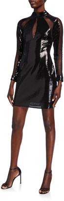 Aidan Mattox Sequin & Mesh Inset Mock-Neck Long-Sleeve Mini Dress