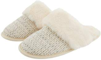 Monsoon Cassie Chenille Knitted Lurex Mule Slipper - Ivory