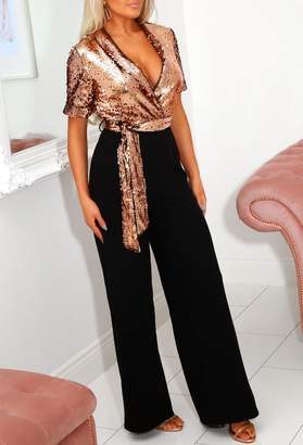 Pink Boutique Freya Rose Gold Tailored Sequin Wide Leg Jumpsuit