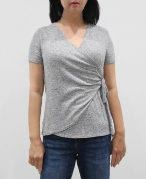 Coin 1804 Women's Short Sleeve Wrap Side Tie Top