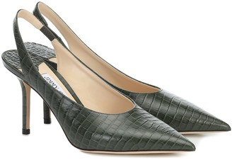Jimmy Choo Ivy 85 croc-effect leather slingback pumps