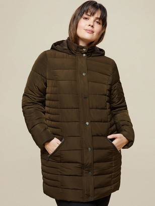 Dorothy Perkins Curve Long Hooded Padded Coat - Khaki