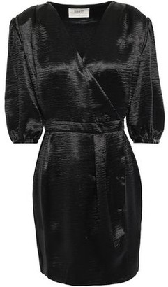 BA&SH Camil Crinkled-satin Mini Wrap Dress