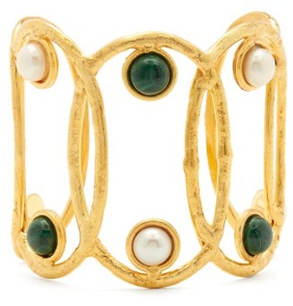 Sylvia Toledano - Jackie Pearl And Malachite Cuff - Womens - Gold