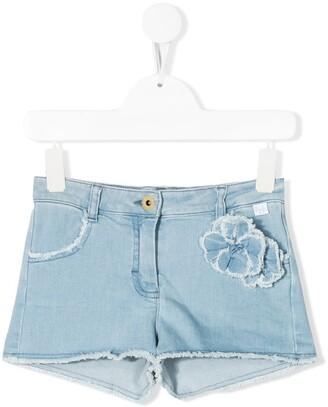 Il Gufo Floral Applique Denim Shorts