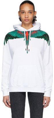 Marcelo Burlon County of Milan White and Green Wings Hoodie