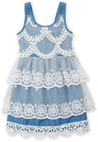 Baby Sara Girls 4-6x) Tiered Chambray Dress