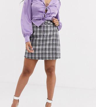 Fashion Union Petite tailored aline mini skirt coord in check
