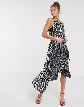 Forever U sequin midi dress with ruffle detail in black and silver zebra