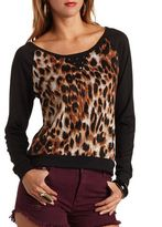 Charlotte Russe Studded Leopard Print Raglan Shirt
