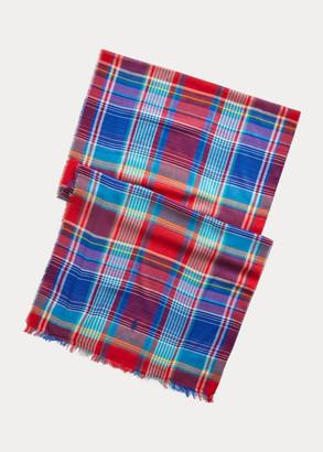 Ralph Lauren Plaid Cotton-Blend Scarf