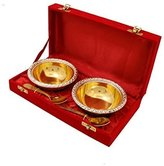 Radha Krishna Shop A Two Ton Two Havy Waigh Bowl With Spoon & Border Of Silver