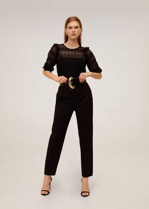 MANGO Ruffled lace T-shirt black - M - Women