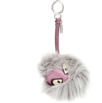 Fendi Grey/Purple Fur and Leather Bag Bugs Charm