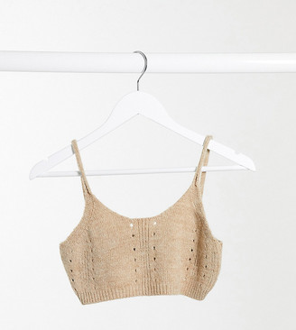 ASOS DESIGN petite co-ord chunky knitted bralet in tan