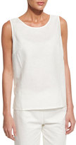 Neiman Marcus Sleeveless Linen-Blend Shell