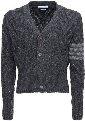 Thom Browne Mohair & Wool Tweed V-Neck Cardigan