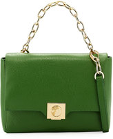 Versace Fold-Over Leather Crossbody Bag, Green