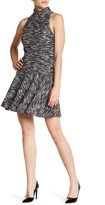 ABS by Allen Schwartz Mock Neck Jacquard Fit & Flare Dress