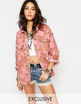 Reclaimed Vintage Oversized Military Jacket In Pink Camo