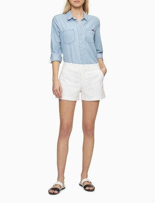 """Calvin Klein Solid Pintuck 4"""" Shorts"""