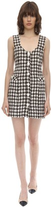ROWEN ROSE Exclusive Wool Houndstooth Tweed Dress