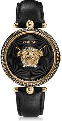 Versace Women's Palazzo Empire Black Leather Watch, 39mm