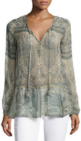 Calypso St. Barth Tuloni Long-Sleeve Printed Top, Sand