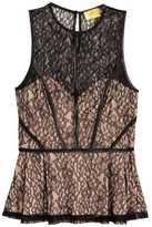 H&M Lace Peplum Top - Black/powder - Ladies