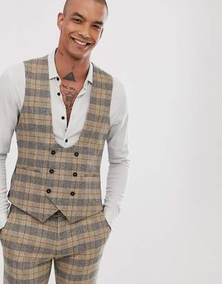 Twisted Tailor Ace super skinny waistcoat in heritage check-Tan