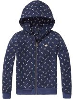 Scotch & Soda Printed Zip-Through Hoodie