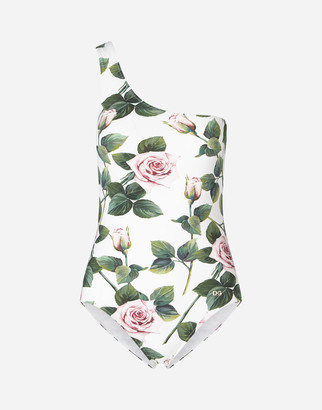 Dolce & Gabbana One-Shoulder Tropical Rose Print Swimsuit