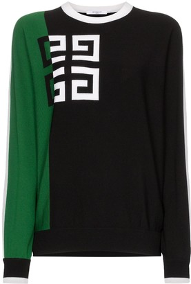 Givenchy Logo print two-tone woollen blend jumper
