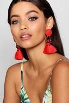 boohoo Megan Floral Tassel Bead Statement Earrings