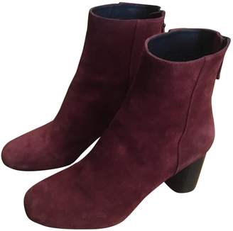 Sandro Fall Winter 2018 Red Suede Ankle boots