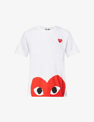 Comme des Garcons Big heart-applique cotton-jersey T-shirt