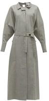 Jil Sander Wool-blend Maxi Shirtdress - Womens - Light Grey