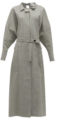 Jil Sander Wool-blend Maxi Shirtdress - Womens - Light Grey