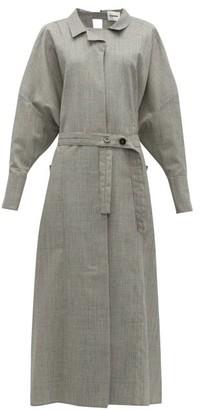 Jil Sander Wool Blend Maxi Shirtdress - Womens - Light Grey